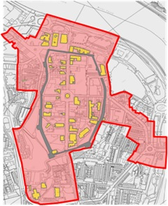 Historic City Conservation Area (red)