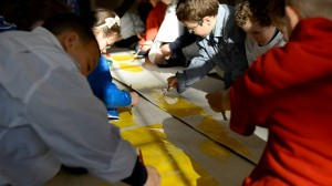 Children at Long Tower Primary School taking part in The Seeing Project. Image by John McDaid